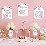 Pink Elephant Baby Shower Decor Pink & Gray Table Bar Signs Food Tent Cards Thank You Tags Diaper Raffle Game Cards Set for Pink Little Peanut Welcome Baby Girl Birthday Party Supplies