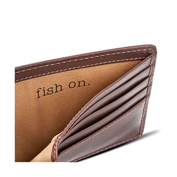 HOJ Co. BASS FISH Bifold Wallet with Flip ID | Nappa Full Grain Leather | Extra Capacity Men's Leather Wallet | Fisherman Wallet