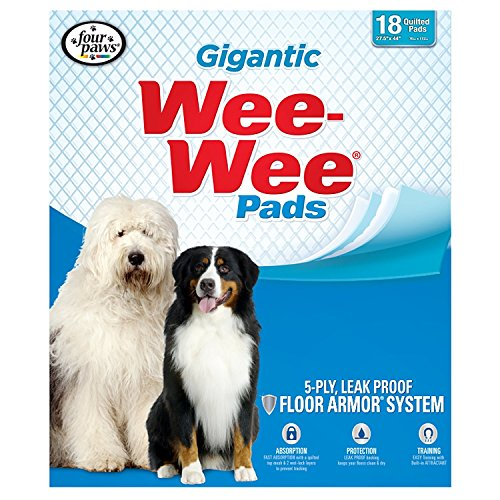 """Wee-Wee Puppy Training Pee Pads 18-Count 27.5"""" x 44"""" Gigantic Size Pads for Dogs"""