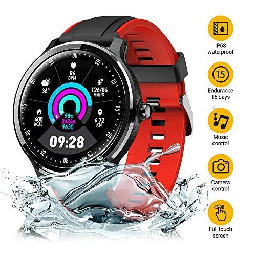 NACATIN Smartwatch Fitness Tracker Fitness Uhr Armbanduhr Sport Uhr IP68 wasserdichter 1,77 Zoll voller Touchscreen mit Kamerasteuerung Schrittzähler Schlaftracker für iOS Android-Handy (rot)