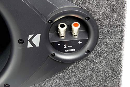 """KICKER DC122 Dual 12"""" 600W Car Subwoofers + Box + 1500W Mono Amp + 4 Ga Amp Kit"""