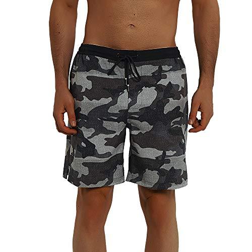 Balcony & Falcon - Bañador para hombre, pantalones cortos de baño de hombre, pantalones cortos de baño, pantalones cortos de playa, pantalones cortos de verano para hombre, Camuflaje, L
