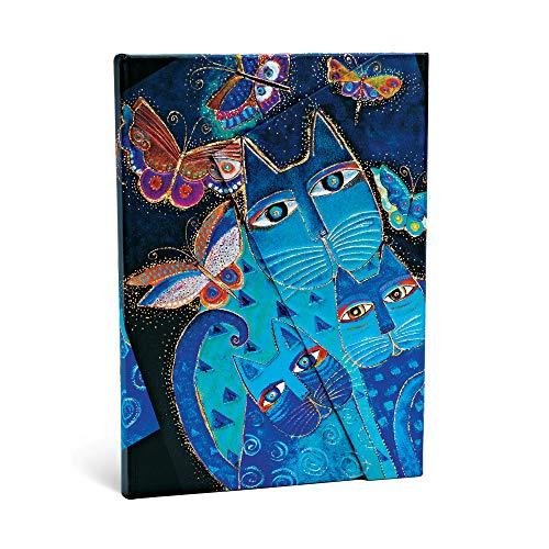 Paperblanks Cuadernos de Tapa Dura Gatos Azules y Mariposas   Rayado   Midi (130 × 180 mm) (Paperblanks: Fantastic Felines)