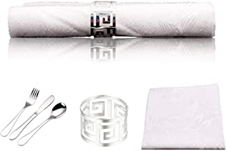 Disposable Plastic Rolled Napkins with Ring Cultery Set, Silverware Fork, Knife, Spoon, in Rolled Napkins with Napkin Ring...