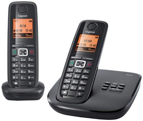 Gigaset A510A Duo Dect-Schnurlostelefon mit Anrufbeantworter , incl. 1 zusätzlichen Mobilteil, schwarz