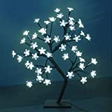 LED Bonsai Cherry Blossom Tree Light, Crystal Flower Adjustable Branches Artificial Tree,Timer Battery Operated for Home Decoration Night Light and Gift(White)