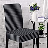 Briarwood Home Jersey Chair Slipcovers 4 Piece Set, Super Fit, Stretchy, Removable, Machine Washable Dining Room Chair Cover Set - Heather Fabric Striped - Best for Home Decoration (Blue/Black)