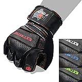 Fox-Fight Extreme Fitness - Guanti da Allenamento in Pelle di Alta qualità, per Bodybuilding e Bodybuilding, Rot, M