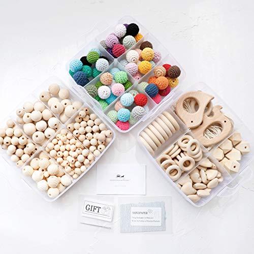 Mamimami Home 3PC Baby Holz Beißring Tier Rassel Bio Häkeln Perlen DIY Halskette Kautabletten Baby Dusche Geschenk Kinderkrankheiten Spielzeug