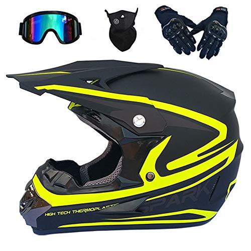 SBUNA Männer Damen Motorrad Mountainbike Helm, Integral Supermoto Helm Set Fullface ATV Fahrrad DH Cross Enduro Road Racing Helm mit Brille Handschuhe Maske, Gelbe/Schwarze Matt,M