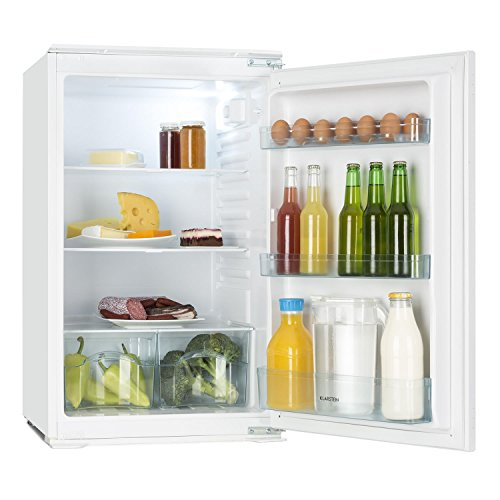 Klarstein Coolzone 130 - Kühl- Gefrierkombination, Einbaukühlschrank, 130 Liter Fassungsvermögen, 6-stufiger Thermostat, 88 cm hoch, 80 Watt Nennleistung, 3 Ebenen, 3 Türfächer, weiß