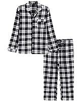 Latuza Men's Cotton Pajama Set Plaid Woven Sleepwear XXXL White