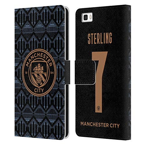 Head Case Designs Licenciado Oficialmente Manchester City Man City FC Raheem Sterling 2020/21 Jugadores Fuera Kit Grupo 1 Carcasa de Cuero Tipo Libro Compatible con Huawei P8lite / ALE-L21