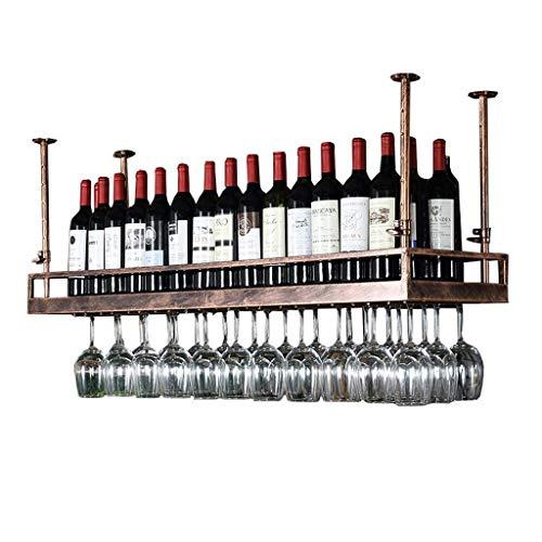 MLOZS Estante de Vino para Colgar Desde el Techo Ajustable en estantes de Tallo de Altura para Copas de Vino de Metal en Hierro (Color : Black, Size : 120 * 35cm)