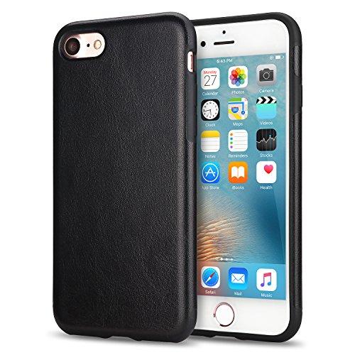 TENDLIN Kompatibel mit iPhone SE 2020 Hülle/iPhone 7 Hülle/iPhone 8 Hülle Leder mit Flexiblem TPU Silikon Hybrid Weiche Schutzhülle (Schwarz)