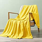 Exclusivo Mezcla Brushed Diamond Check Large Flannel Fleece Throw Blankets (Yellow, 50' x 70')-Soft, Warm and Lightweight