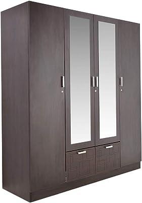 GODREJ INTERIO Squadro Engineered Wood Matte Finish 4-Door Wardrobe with Mirror (Cinnamon)