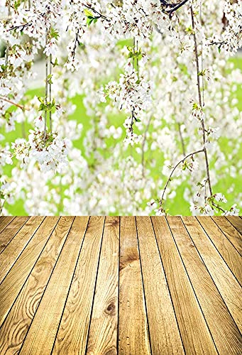 Fondo de fotografía de Piso de Tablero de Madera de Flor de Primavera Fondo de Retrato de Planta Verde para niños para Estudio fotográfico A5 5x3ft / 1.5x1m