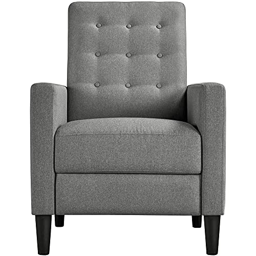 Yaheetech Grey Modern Recliner Chair Adjustable Reclining Armchair Upholstered Sofa Couch with Soft Padded Seat for Home or Bedroom