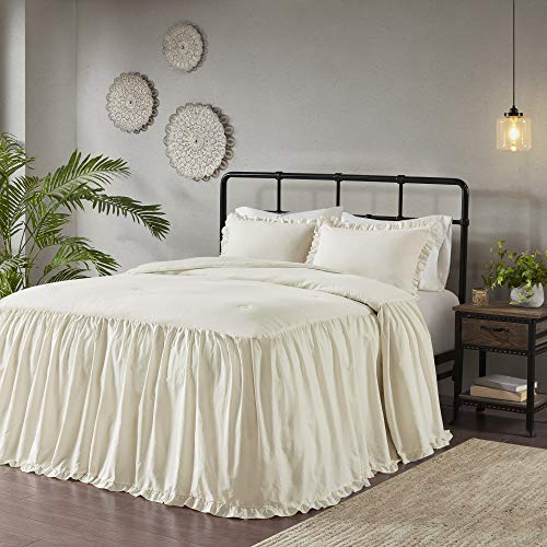 Leilah Queen 3pc Cotton Ruffle Skirt Bedspread Set Ivory