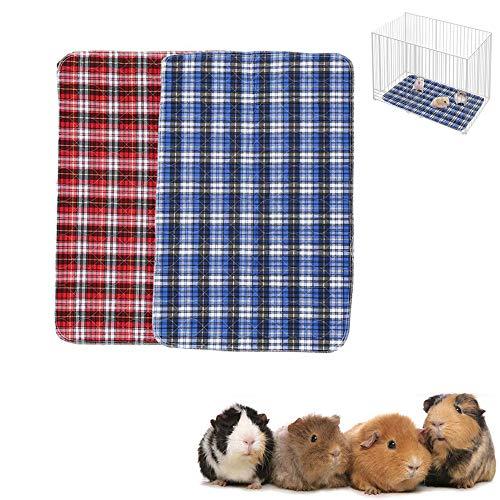 ASOCEA Paquete de 2 forros a cuadros para jaula reutilizables para hámsteres ropa de cama lavables almohadillas absorbentes para mascotas pequeñas para chinchillas conejos gatos perros reptiles y otro