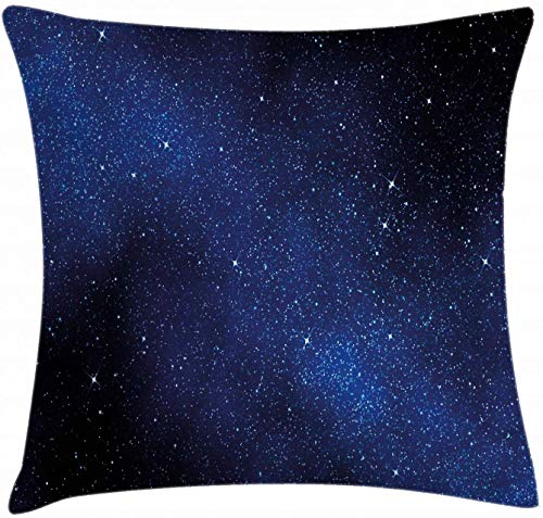 Night Sky Throw Pillow Cushion Cover Nebula Galaxy Stars Milky Way in Ombre Colors Outer Space Universe Image Decorative Square Accent Pillow Case 18' X 18' Blue White