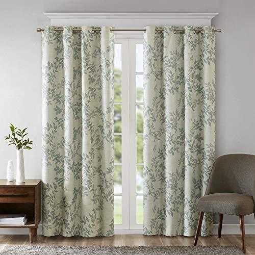 SUNSMART Julie Botanical Print Blackout, Casual Grommet Window Curtain for Bed Living Room Kitchen, Black, 1-Panel Pack, 50x84, Aqua