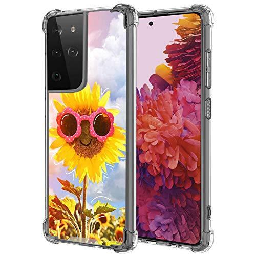UZEUZA Funda para Samsung Galaxy S21 Ultra Transparente Bumper Cover Anti-Arañazos Transparente Bordes Con Dibujos Girasol