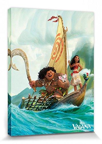 1art1 Vaiana - Mit Maui Auf Einer Bootsfahrt Bilder Leinwand-Bild Auf Keilrahmen   XXL-Wandbild Poster Kunstdruck Als Leinwandbild 80 x 60 cm