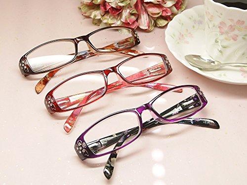 老眼鏡 携帯用ファッションシニアグラス【ローズ】 おしゃれな女性用 M1001 (+2.00, バイオレット)