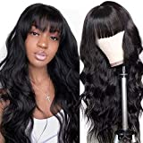 Flequillo Postizo Mujer Rizado Perfectos Humano no Lace Riza Pelos Natural Larga Mujer Pelucas Afro Human Hair Wigs with Bangs with PU Fake Scalp body wavy curly(20inch/50cm)