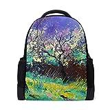 FANTAZIO mochila pintura al óleo paisaje primavera escuela bolsa mochila