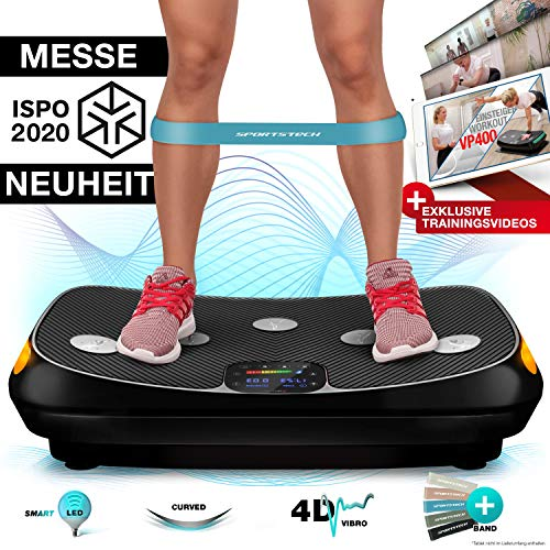 Messe-Neuheit 2020! 4D Vibrationsplatte VP400 im Curved Design + Trainings-Videos, Color Touch Display, Riesen Fläche, Smart LED Technologie +Remote-Watch, Trainingsbänder, Übungsposter & Schutzmatte