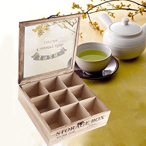JUEYAN Teebox aus Holz Teekiste Teekasten mit 9 Fächern Teebeutelbox mit Glasdeckel Teebehälter Tee-Box