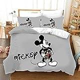 AQEWXBB Juego de cama de Mickey Mouse para niños y jóvenes, funda nórdica de Mickey Mouse, juego de 2 piezas, sin relleno, (Mickey 4,200 x 200 cm + 80 x 80 cm x 2)