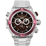 Mulco Buzo Dive Quartz Swiss Chronograph Movement Men's Watch | Premium Analog Display with Steel Accent | Steel Watch Band | Water Resistant Stainless Steel Watch (Steel/Purple)