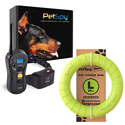 PetSpy P620 Dog Training Shock Collar and Dog Fitness Ring Bundle