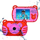 CamKing Kids Fotocamera Digitale Impermeabile,K6 HD 1080P 18 MP 2.7 Pollici Screen 8X Mini Cartoon Macchina Fotografica per Bambini (Rosso)