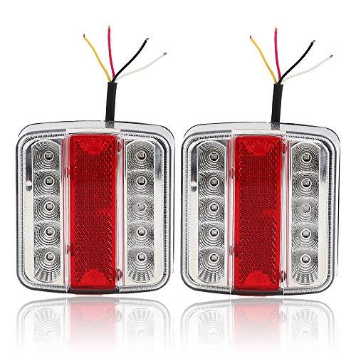 Hawkeye Rimorchio LED Fanali Posteriori 4 funzione Led lampada quadrata per camion furgone (Trasparente & rosso, piazza)