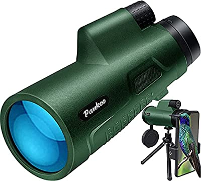 Pankoo 12X50 Monoculars for Adults High Power Monocular Telescope for Wildlife Bird Watching Hunting Camping Travel Secenery with Smartphone Holder & Tripod from Pankoo