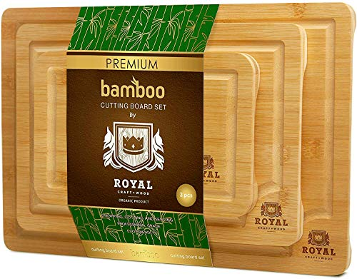 Product Image of the Bamboo Cutting Board with Juice Groove (3-Piece Set) - Kitchen Chopping Board...
