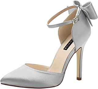 6ee316a468d ERIJUNOR Women High Heel Bow Ankle Strap Evening Party Dance Wedding Satin  Shoes