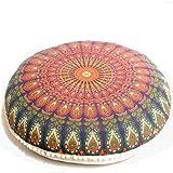 Mandala Life ART Bohemianisches Yoga Kissenbezug - rundes Dekokissen - Meditationskissen im Mandala...