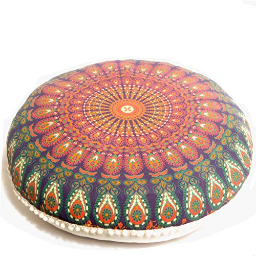 Bohemian Yoga Decor Floor Cushion Cover - Round Medition Pillow Case - Hand Printed Organic Cotton Pouf - Mandala Life ART(Orange Peacock)