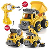 Take Apart Toys with Electric Drill | Converts to Remote Control Car | 3 in one Construction Truck...