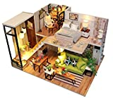 KISSTAKER Dollhouse Kit Tiny House Building Kit Miniatures,DIY Mini Wooden House with Dustproof Cover,Furniture,Music Chip & Assemble Tool Northern Europe