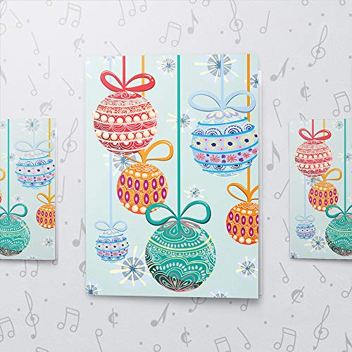 Singing Christmas Ornament Card Large Size | Christmas Holiday Card With Music, Recordable Happy Christmas Card, Large Christmas Card 10612 (120sec Recordable)