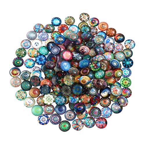 Heallily Glaskuppel, 100 Stück, halbrund, flache Rückseite, Mosaik, bedruckte Glas-Cabochons für DIY-Schmuckherstellung, Handwerk, 10 mm