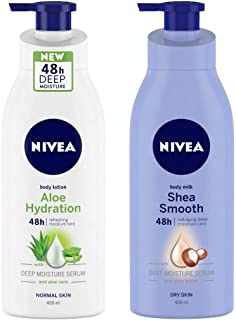 NIVEA Aloe Hydration Body Lotion, 400ml, with deep moisture serum and aloe vera for normal skin & Body Milk, Shea Smooth, 400ml Combo