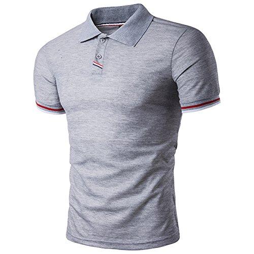 BicRad Herren Shirt Polo Kurzarmshirt Slim Polohemden Baumwolle, XL, B40 Grau